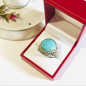 Silver Thai Turquoise Cocktail Ring